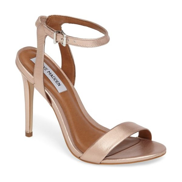 Steve Madden landen ankle strap sandal in rose gold - A slim ankle strap lends a dash of on-trend elegance to...