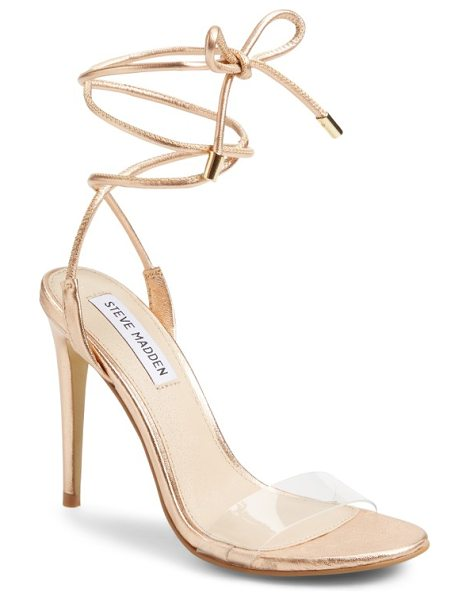 "Steve Madden lyla wraparound sandal in rose gold - Taking ""barely there"" to new heights, this flirty sandal..."
