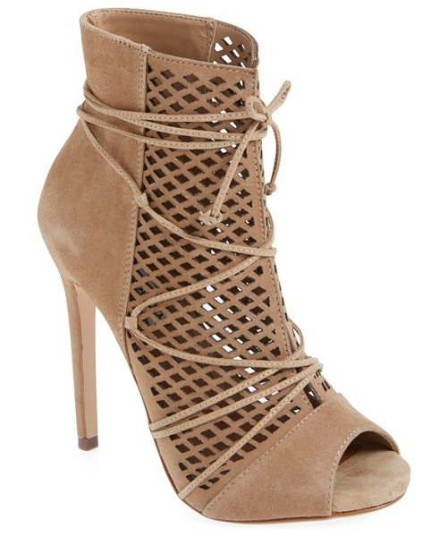 Steve Madden maddye peep toe bootie in sand suede - Diamond cutouts and a smooth suede finish refine a...