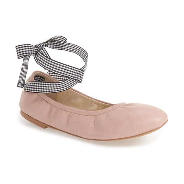 Steve Madden meow ribbon tie flat in blush leather - Wraparound ribbon ties heighten the ballet influence of...