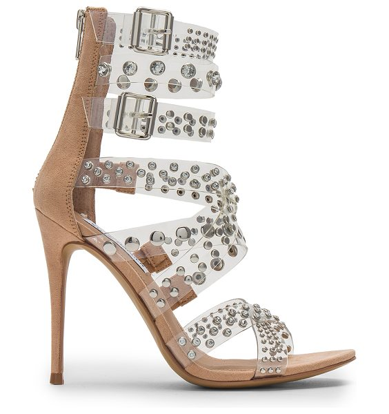 """Steve Madden Moto Sandal in nude - """"Suede and clear vinyl upper with man made sole. Back..."""