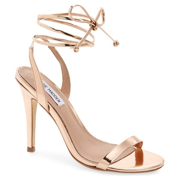 Steve Madden mysty ankle strap sandal in rosegold - Slim wraparound ankle straps and a mirror-ball finish...
