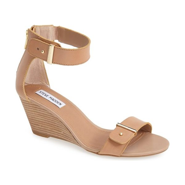 Steve Madden narissaa ankle strap wedge sandal in bone leather - Gleaming push studs and sleek gilded bars add just the...