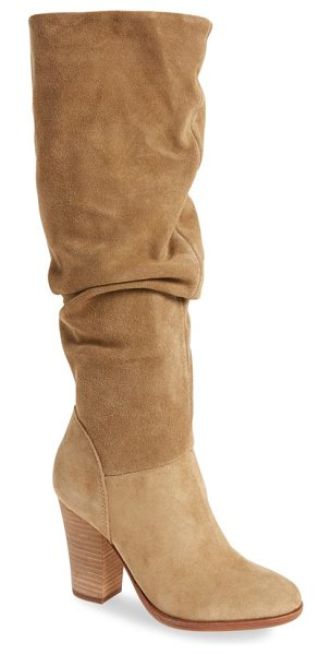 Steve Madden nevadaaa knee high boot in sand suede - A slouchy silhouette distinguishes a chic suede boot...