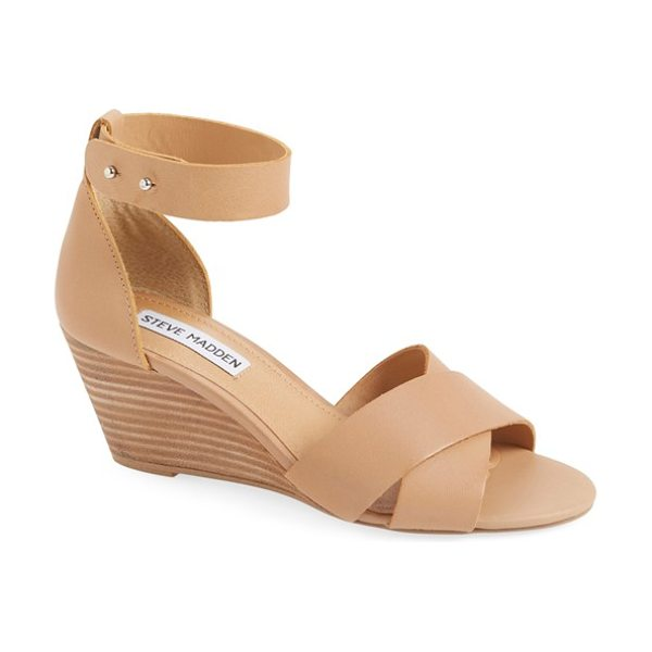 Steve Madden nilla wedge sandal in bone leather - A sleek wedge and minimalist hardware update the look of...
