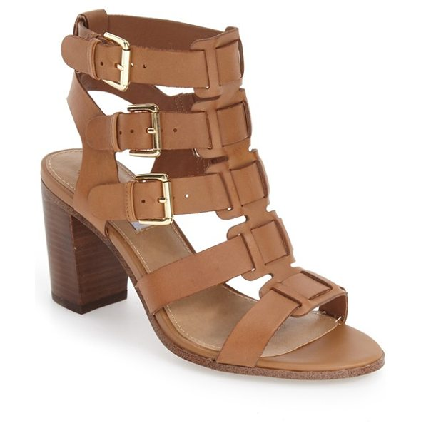 Steve Madden ninna cage block heel sandal in tan leather - Laddered buckle straps create a striking caged effect...