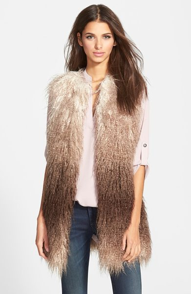 Steve Madden ombre faux fur vest in brown - Shaggy faux fur with the look of Mongolian sheepskin...