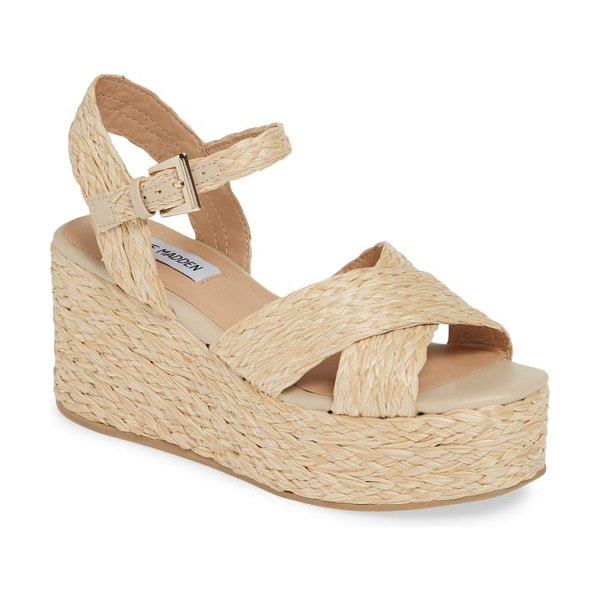 Steve Madden pam espadrille platform wedge sandal in brown - Braided raffia lends a naturally chic look to a breezy...