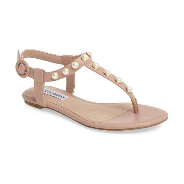 Steve Madden pamela sandal in blush faux leather - Imitation pearls stud this classic thong sandal with...