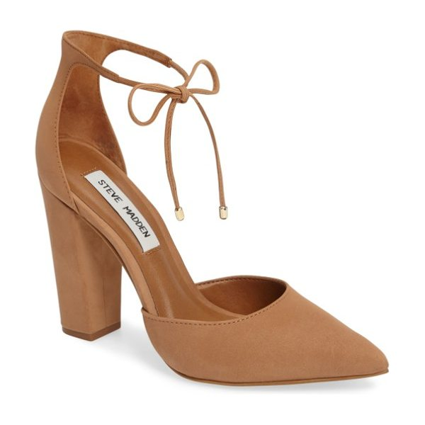 Steve Madden pamperd lace-up pump in tan nubuck leather - Slender laces tipped in gleaming hardware cinch up the...