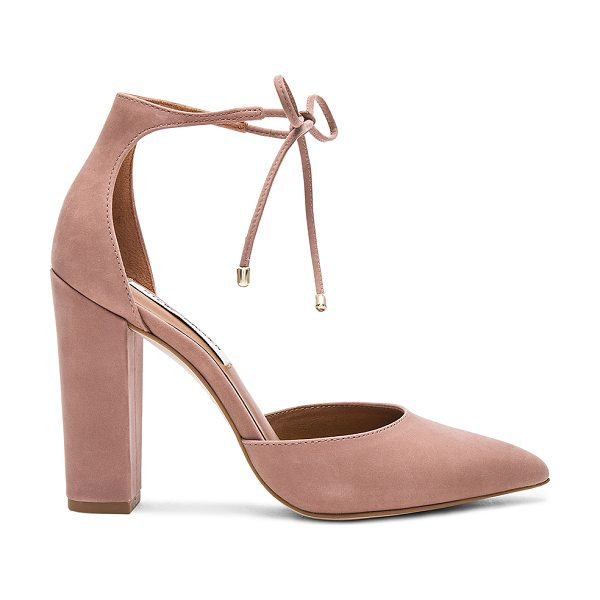 Steve Madden Pampered Heel in mauve - Suede upper with man made sole. Tie closure. Heel...