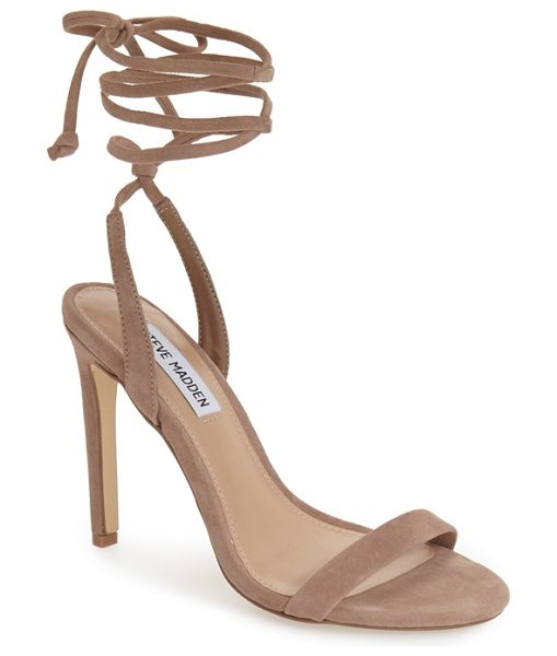 Steve Madden pattrice ankle wrap sandal in taupe suede - Thin suede laces elegantly wrap around your ankle on...
