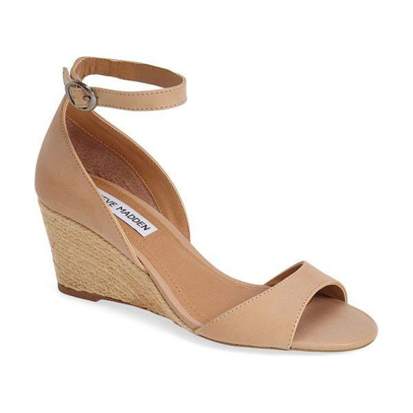 Steve Madden picnicc espadrille wedge sandal in nude leather - A striking espadrille wedge balances the modern...