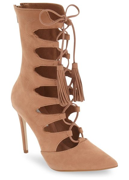 Steve Madden 'piper' lace-up bootie in tan nubuck - A nubuck leather bootie makes a dramatic entrance with a...