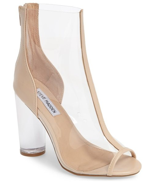 STEVE MADDEN portal clear peep toe bootie in nude - A clear column heel lifts a daringly transparent bootie...