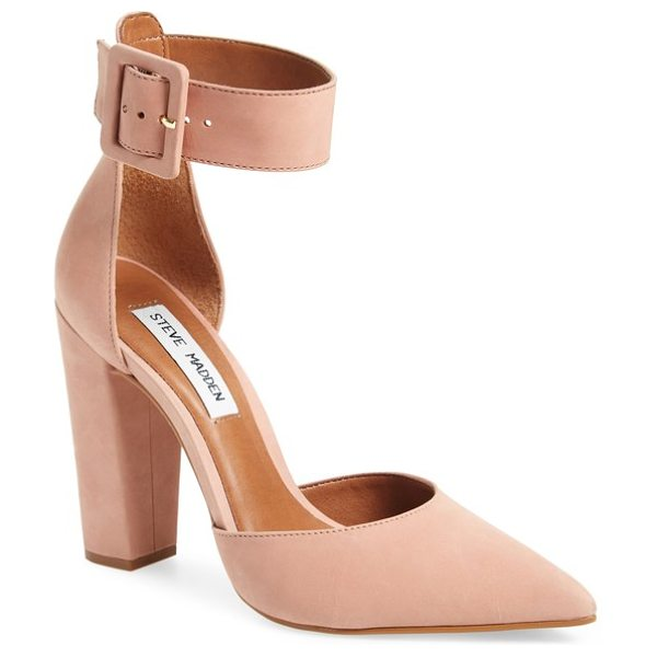 Steve Madden posted ankle strap pump in dusty pink nubuck leather - A belted ankle strap balances the squared-off statement...