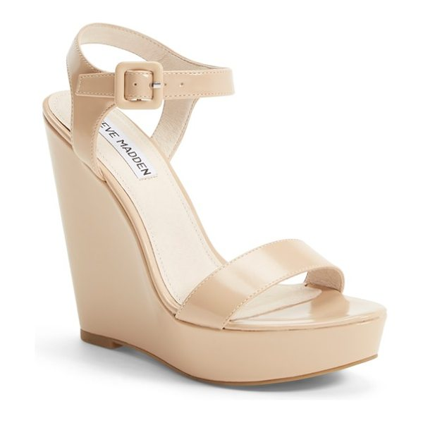 Steve Madden prestine wedge sandal in natural - A perfect balance of mod and retro, this ankle-strap...