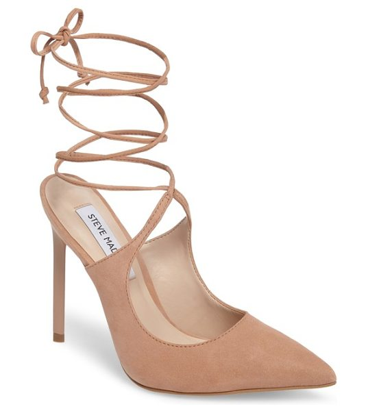 Steve Madden raven ankle wrap pump in tan nubuck leather - A slim stiletto, backless silhouette and slender ankle...
