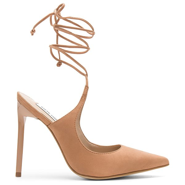 "STEVE MADDEN Raven Heel in tan - ""Suede upper with man made sole. Wrap ankle with tie..."