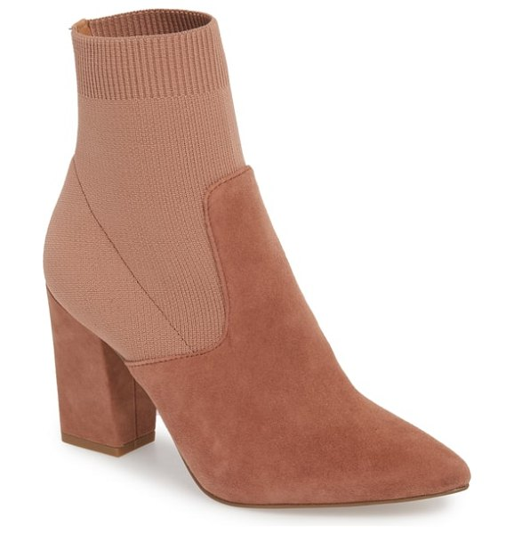 Steve Madden reece sock bootie in tan suede - A socklike knit shaft creates a comfortable, custom fit...