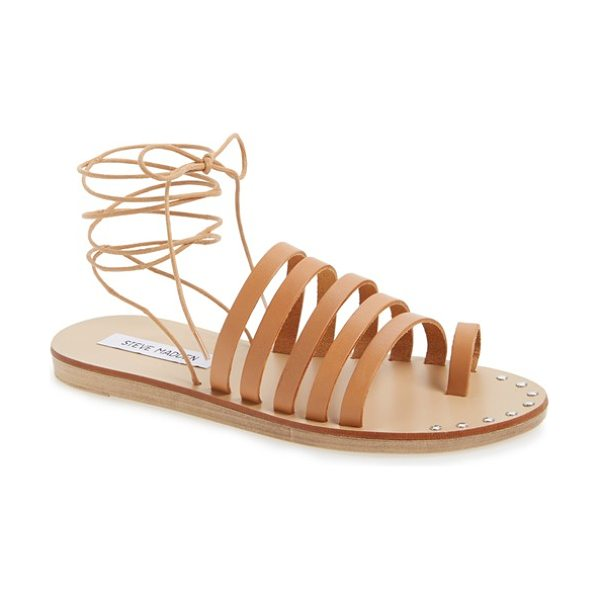 STEVE MADDEN reisa strappy wraparound sandal in natural leather - A cage of horizontal straps and a footbed fronted in...
