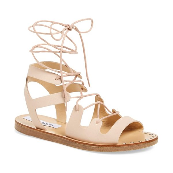 STEVE MADDEN rella ankle wrap sandal - Shining nail-heads and wraparound laces lend an artisan...