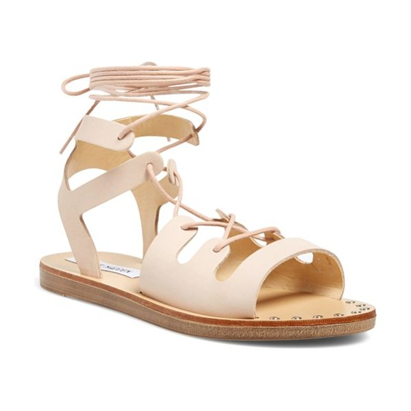 Steve Madden rella ankle wrap sandal in pink leather - Shining nail-heads and wraparound laces lend an artisan...