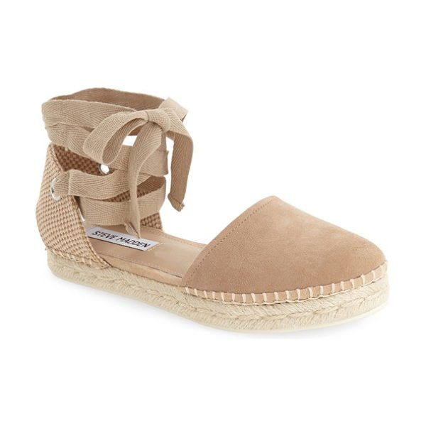 Steve Madden remmyy espadrille flat in taupe suede - This classic espadrille features a closed round toe and...