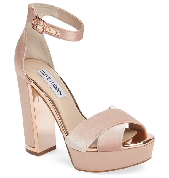 STEVE MADDEN rivers platform sandal in blush satin - Gilt trim and lustrous satin and velvet infuse luxe...