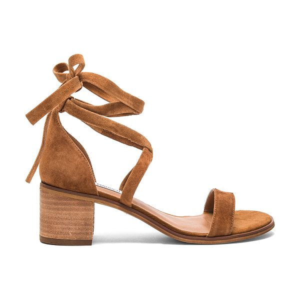 Steve Madden Rizzaa Heel in cognac - Suede upper with man made sole. Wrap ankle with tie...