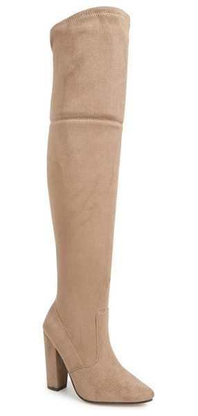 Steve Madden rocking over the knee boot in taupe suede - Instantly embolden your look with a dramatic...