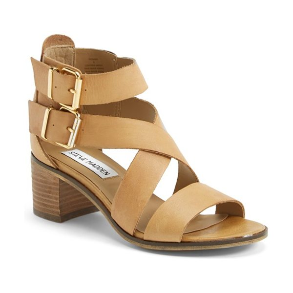 Steve Madden rosana double ankle strap leather sandal in cognac leather