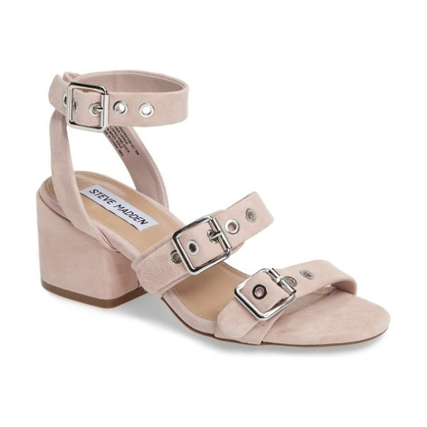 Steve Madden rotating ankle strap sandal in blush suede - Silvery buckles and grommet hardware lend an...