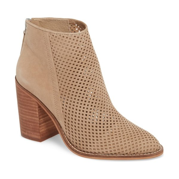 Steve Madden rumble perforated bootie in brown - Tiny diamond perforations trellis from toe to topline up...