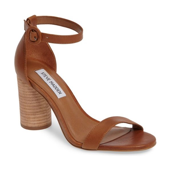 Steve Madden sara column heel sandal in natural leather - A stacked column heel and a round buckle bring curvy...