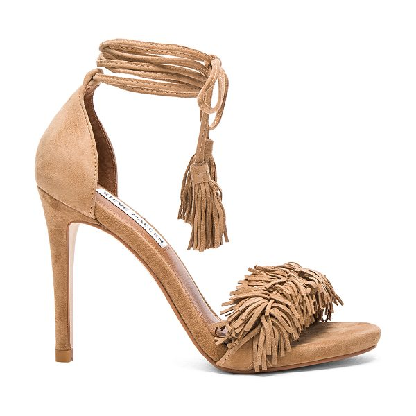 Steve Madden Sassey heel in tan - Suede upper with man made sole. Ankle wrap tie closure....