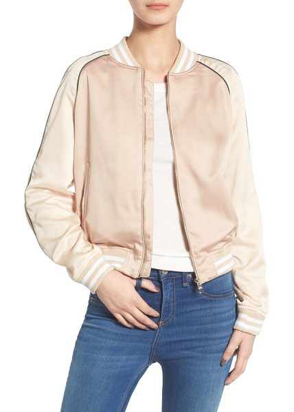 Steve Madden satin bomber jacket in champagne - Striped trim and contrast raglan sleeves with piping...