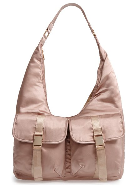 STEVE MADDEN satin hobo bag - Lustrous satin furthers the '70s-inspired vibe of a...