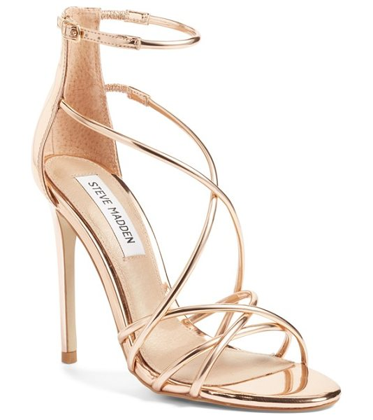 Steve Madden satire strappy sandal in rose gold - Barely there metallic straps intertwine at the toe and...