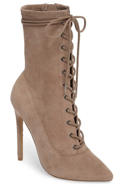 Steve Madden satisfied corset-lace bootie in taupe suede - A Victorian-inspired bootie sheds the prim attitude with...