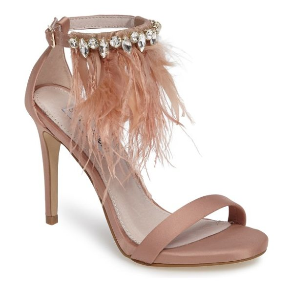 Steve Madden savanna embellished feather sandal in blush multi - A cascade of feathers and a band of crystals bring...