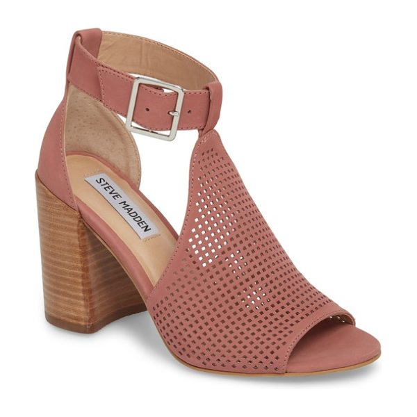 STEVE MADDEN sawyer sandal - Squared-off perforations add interest to a T-strap sandal...