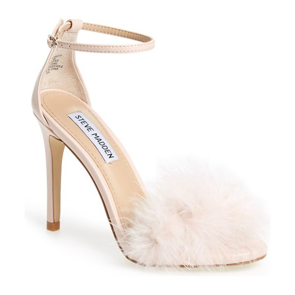 Steve Madden 'scarlett' marabou evening sandal in pink - A flirty, marabou-covered toe is balanced by a slender...
