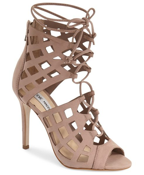 Steve Madden sedduce cage sandal in natural nubuck - Airy diamond cutouts create the alluring cage silhouette...