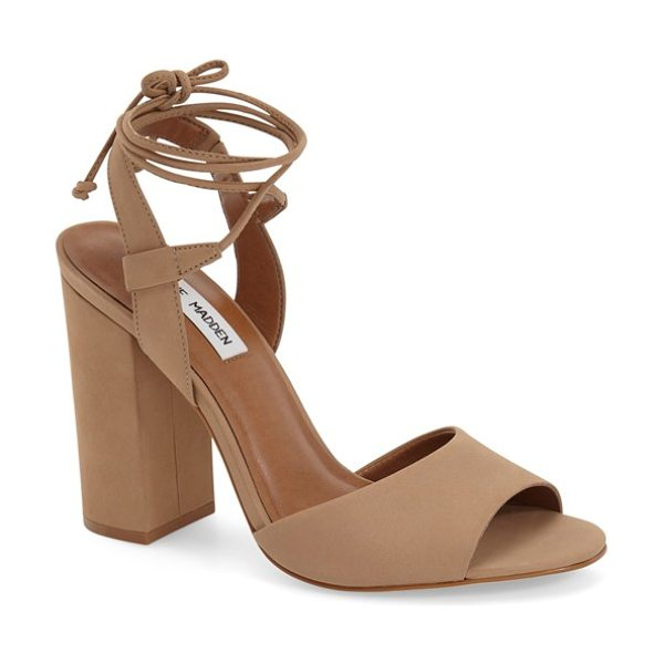 Steve Madden serrina block heel lace up sandal in camel nubuck - Both classic and modern, this standout sandal shaped...