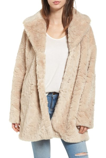 Steve Madden shaggy faux fur coat in cream - Plush faux fur brings a look of untamed chic to this...