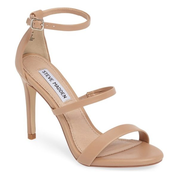 Steve Madden sheena strappy sandal in natural multi - Three slender straps and a towering stiletto give this...