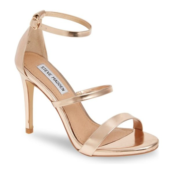 Steve Madden sheena strappy sandal in rose gold - Three slender straps and a towering stiletto give this...