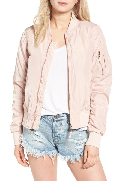 Steve Madden side zip bomber jacket in blush - Zip vents at the sides add a utility-chic touch to a...