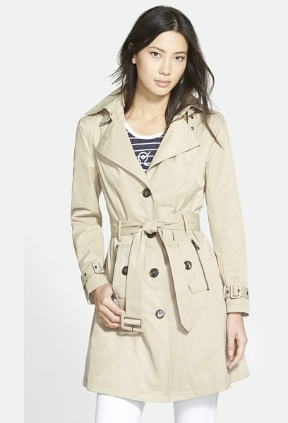 STEVE MADDEN single breasted hooded trench coat in new khaki - Bring on the spring showers! Whether you opt for sunny...
